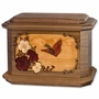 Butterfly with Flowers 3D Inlay Walnut Wood Octagon Cremation Urn