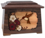 Hummingbird with Flowers Inlayed Walnut Wood Astoria Cremation Urn