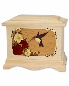 Hummingbird with Flowers with 3D Inlay Maple Wood Cremation Urn