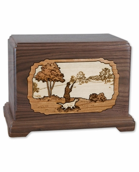 Hunter with Dog with 3D Inlay Walnut Wood Hampton Cremation Urn
