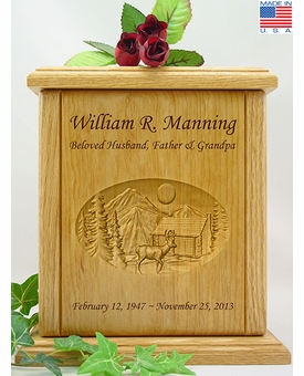 Hunting Camp Relief Carved Engraved Wood Cremation Urn - 2