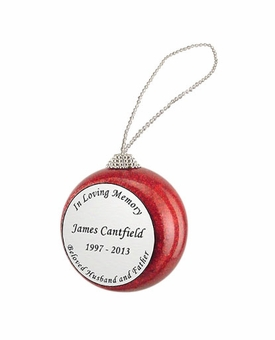 In Loving Memory Red Glitter Memorial Holiday Tree Ornament
