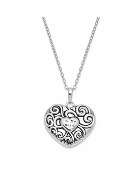 In My Heart Antiqued Sterling Silver Cremation Jewelry Pendant