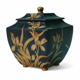 Indigo Hand Painted Orchid Cremation Urn