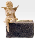 Infant Black Marble With Angel Cremation Urn