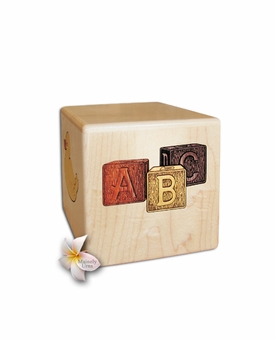 Infant Dimensional Cube Heirloom Maple Wood Cremation Urn