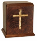 Inlayed Cross Walnut Wood Cremation Urn