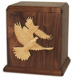 Inlayed Doves Walnut Wood Cremation Urn