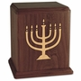 Inlayed Menorah Walnut Wood Cremation Urn