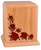 Inlayed Roses Walnut Wood Cremation Urn