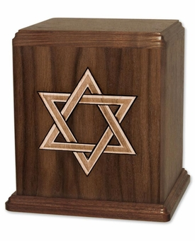 Inlayed Star of David Walnut Wood Cremation Urn