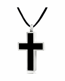 Inset Cross Stainless Steel Cremation Jewelry Pendant Necklace