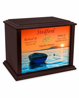 Joined Rings Boat at Sunset Eternal Reflections Wood Companion Cremation Urn