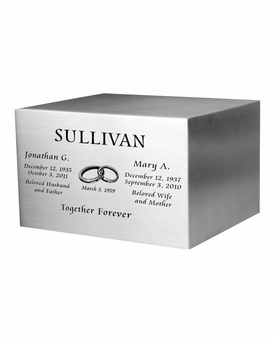 Joined Rings Engraved Companion Satin Stainless Steel Cremation Urn