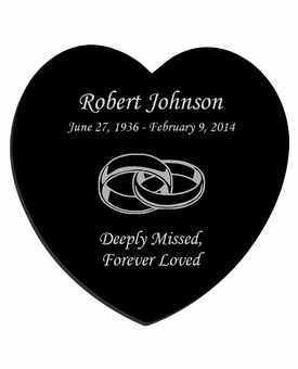 Joined Rings Laser-Engraved Heart Plaque Black Granite Memorial