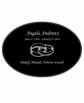 Joined Rings Laser-Engraved Oval Plaque Black Granite Memorial