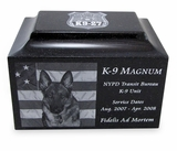 K-9 Service Dog Black Granite Cremation Urn with Engraved Photo