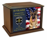 K-9 Service Dog Eternal Reflections Wood Cremation Urn - 2 Sizes
