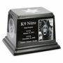 K-9 Service Dog Photo Black Granite Ark Pet Cremation Urn - 2 Sizes