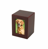 Keepsake Cherry Finish MDF Wood Photo Pet Cremation Urn