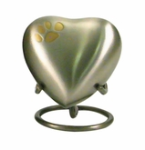 Keepsake Paw Prints Classic Heart Pewter Pet Cremation Urn - Engravable