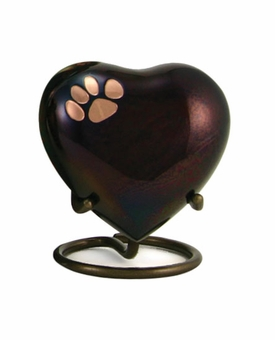 Keepsake Paw Prints Classic Heart Raku Pet Cremation Urn - Engravable