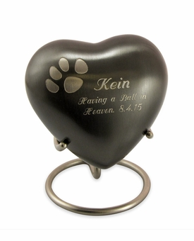 Keepsake Paw Prints Classic Heart Slate Pet Cremation Urn - Engravable