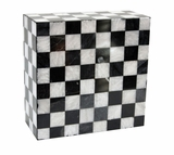 Kingdom Black and White Marble Mosaic Cremation Urn