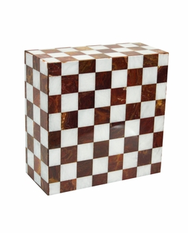 Kingdom Red and White Marble Mosaic Cremation Urn
