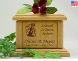 Kneeling Angel Infant Engraved Wood Cremation Urn