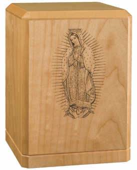 Lady of Guadalupe Classic Maple Wood Cremation Urn