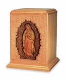 Lady of Guadalupe Dimensional Wood Cremation Urn - Engravable