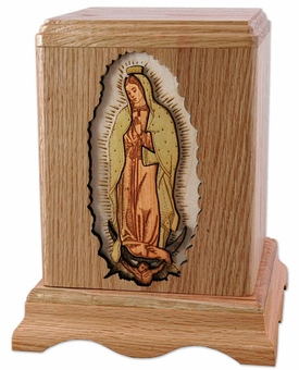 Lady of Guadalupe Inlayed Oak Wood Cremation Urn