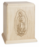 Lady of Guadalupe Maple Wood Newport Laser Carved Cremation Urn