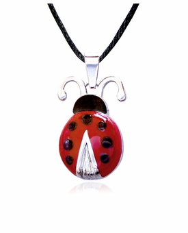 Ladybug Stainless Steel Cremation Jewelry Pendant Necklace