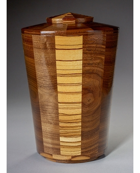 Large Almighty Black Walnut and Zebrawood Wood Cremation Urn