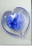 Large Blue Boundless Heart Cremains Encased in Glass Keepsake Cremation Urn