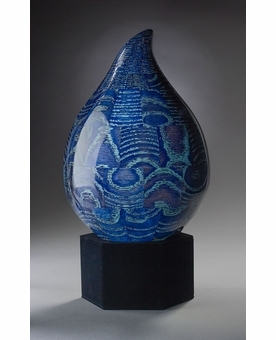 Large Blue Teardrop Wood Cremation Urn