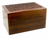 Large Carved Sheesham Wood Cremation Urn