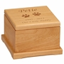 Large Cat Paw Prints Laser  Engraved Red Alder Wood Pet Cremation Urn