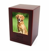 Large Cherry Finish MDF Wood Photo Pet Cremation Urn