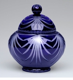 Large Cobalt Blue Majestic Drape Lead Crystal Cremation Urn