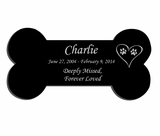 Large Dog Bone Laser-Engraved Plaque Black Granite Memorial