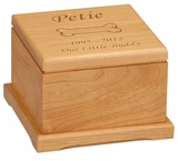 Large Dog Bone Laser Engraved Red Alder Wood Pet Cremation Urn
