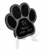 Large Engraved Paw Print Laser-Engraved Plaque Black Granite Memorial