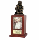 Large Friends Forever Photo Cherry Wood Pet Cremation Urn
