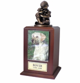 Large Friends Forever Photo Walnut Wood Pet Cremation Urn