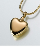 Large Gold Vermeil Heart Cremation Jewelry