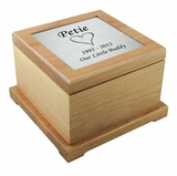 Large Heart Laser Engraved Nameplate Red Alder Wood Pet Cremation Urn