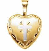 Large Heart with Radiant Cross Gold Vermeil Memorial Locket Jewelry Necklace